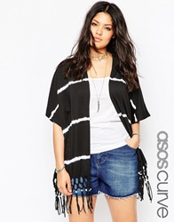 Asos Curve Kimono In Tie Dye With Macrame Fringing Blackwhite