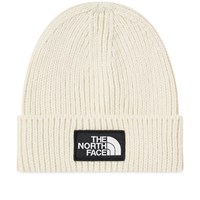 The North Face Logo Box Cuffed Beanie White