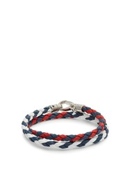 Tod's Braided Leather Bracelet Red Multi