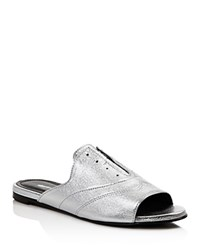 Charles David Smith Metallic Leather Oxford Slide Sandals Silver