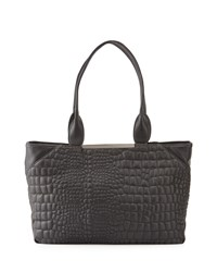 French Connection Monica Croc Embossed Tote Bag Black