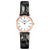 Longines L42091912 'S La Grande Classique Leather Strap Watch Black White