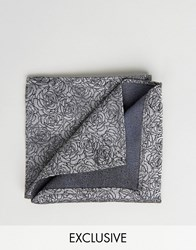 Noose And Monkey Jacquard Pocket Square In Floral Print Grey