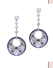 Abellan New York 18K Solid White Gold Moonstones 23.80 Cts Blue Sapphires 4.32 Cts Diamonds 2.49 Cts Averaging F G In Color Vvs To Vs 1 In Clarity Multi