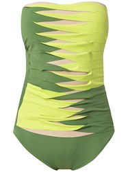 Amir Slama Sleeveless Printed Swimsuit Green