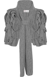 Red Valentino Scarf Embellished Ruffled Ribbed Knit Jacket Gray