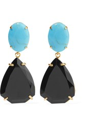 Bounkit Gold Tone Stone Earrings Turquoise
