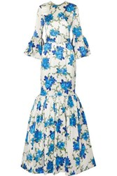 Rebecca De Ravenel Patio Belted Ruffled Floral Print Silk Blend Twill Maxi Dress Blue