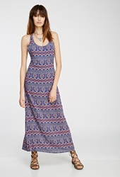 Forever 21 Geo Print Strappy Maxi Dress Royal Coral