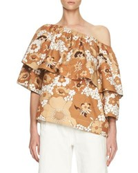 Chloe Floral Slouchy Half Sleeve Blouse Brown Multi