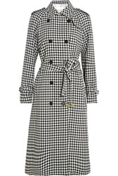 Sonia Rykiel Checked Wool Crepe Trench Coat Black