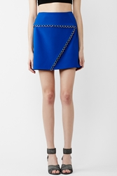 Thierry Mugler Back Zipper Silver Detail Mini Skirt Electric Blue