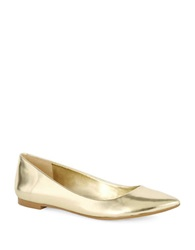 424 Fifth Abia Pointed Toe Leather Flats Gold