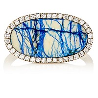 Monique Pean Women's White Diamond And Azurite Oval Faced Ring No Color
