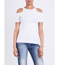 Frame Variegated Cold Shoulder Knitted T Shirt Blanc