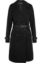 Tom Ford Leather Trimmed Cotton Gabardine Trench Coat Black
