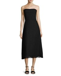 Theory Phyly Strapless Linen Drape Midi Dress Black