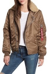 Alpha Industries B 15 Removable Genuine Shearling Collar Flight Jacket Coyote Brown