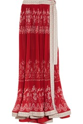 Etro Embroidered Pleated Floral Print Chiffon Maxi Skirt