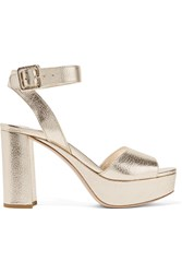 Miu Miu Metallic Textured Leather Platform Sandals Gold