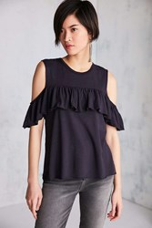 Truly Madly Deeply Ruffle Cold Shoulder Muscle Tee Black