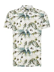 Criminal Men's Botanical Print Short Sleeve Shirt Grey