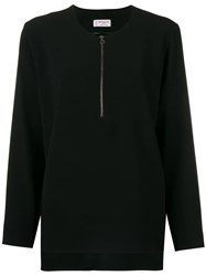 Alberto Biani Zip Front Flared Blouse Black