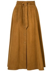 Martin Grant Pleated Skirt Women Silk Reindeer Leather 36 Brown
