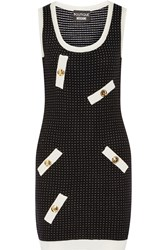 Boutique Moschino Polka Dot Stretch Knit Mini Dress Black
