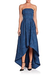 Monique Lhuillier Strapless Embroidered Hi Lo Gown Sapphire