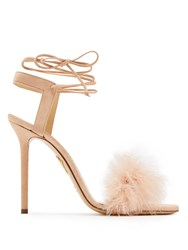 Charlotte Olympia Salsa Feather Embellished Suede Sandals Nude