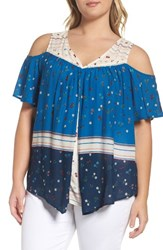 Wit And Wisdom Plus Size Women's Pleat Cold Shoulder Top Celestial Blue