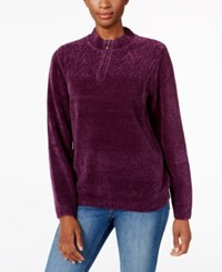 Alfred Dunner Zippered Mock Neck Sweater Amethyst