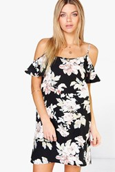 Boohoo Floral Cold Shoulder Swing Dress Multi