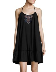 Design Lab Lord And Taylor Embroidered Scoopneck Dress Black