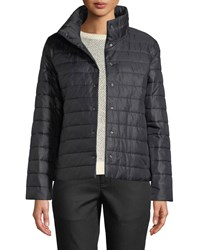 Eileen Fisher High Collar Snap Front Recycled Nylon Jacket Black