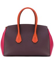 Bally Block Panel Top Handle Tote Women Calf Leather One Size Pink Purple
