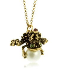 Alcozer And J Glass Pearl Brass And Emerald Frog Pendant Necklace Gold