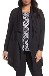 Sejour Plus Size Women's Drawstring Drape Front Knit Jacket