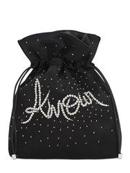 Les Petits Joueurs Trilly Amour Embellished Satin Clutch Black