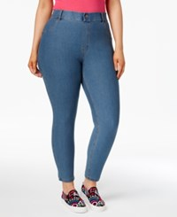 Hue Women's Plus Size Essential Denim Skimmer Leggings Stone Acid Wash