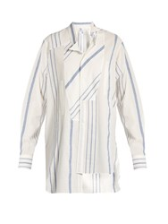 Loewe Asymmetric Wing Collar Striped Cotton Blend Shirt Blue White