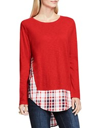 Vince Camuto Long Sleeve Scoopneck Mock Layered Sweater Fire Glow
