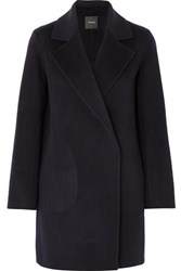 Theory Boy Wool And Cashmere Blend Felt Coat Navy