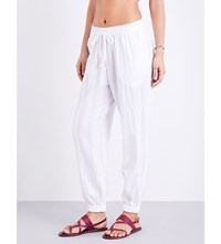 Seafolly Tapered Washed Dobby Stripe Cotton Trousers White