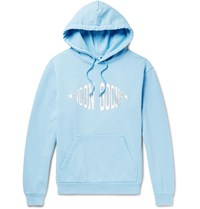 Noon Goons Logo Print Garment Dyed Loopback Cotton Jersey Hoodie Blue