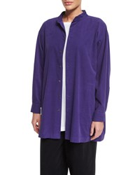 Eskandar Slim A Line Cotton Blend Top Amethyst Amnethyst