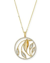 Frederic Sage Medium Venus Garden Mother Of Pearl Pendant Necklace With Diamonds In 18K Yellow Gold