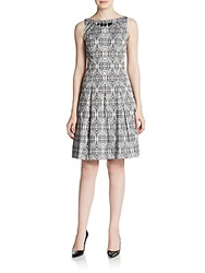 Saks Fifth Avenue Black Printed Beaded Fit And Flare Dress Black