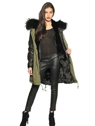 Mrandmrs Furs Leather And Cotton Parka With Fur Lining